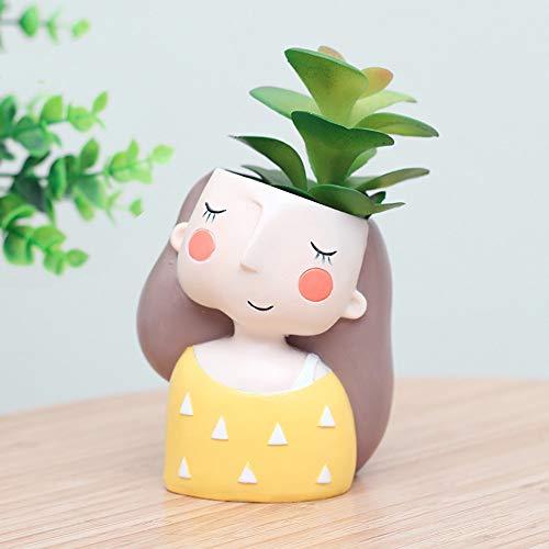Gotian Cute Cartoon Girl Vase Flower Cactus Planter Pot Container for Home Garden Office Desktop Decoration (A)