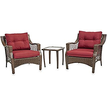 3 Piece Outdoor Patio Wicker Furniture Set With Deep Seat Cushions (Red)