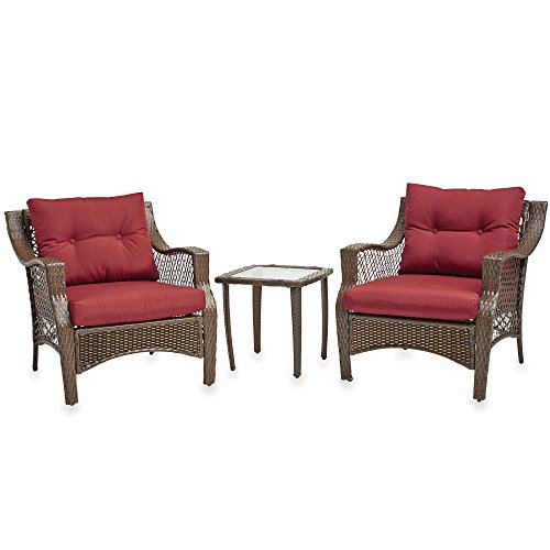 3 Piece Outdoor Patio Wicker Furniture Set With Deep Seat Cushions (Red) (Discount Wicker Chairs)