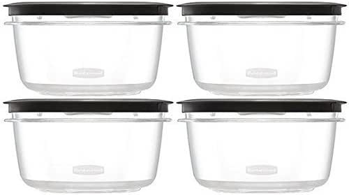 Rubbermaid Premier Food Storage Container, 4 Pack, 5 Cup, Grey