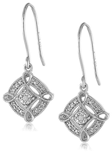 Cut Diamond Dangle Earrings - Sterling Silver Diamond Accent Pave Drop Earrings