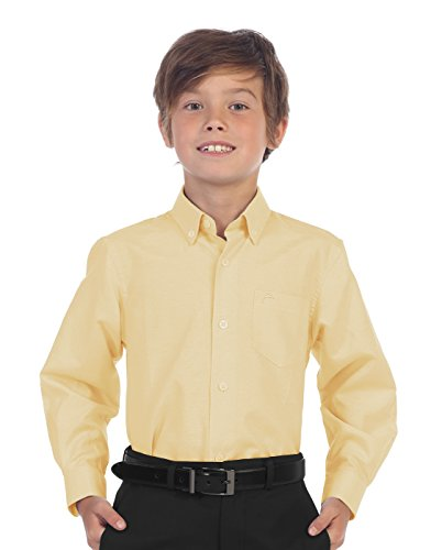 Gioberti Boy's Oxford Long Sleeve Dress Shirt, Yellow, Size (Boys Stripe Oxford)