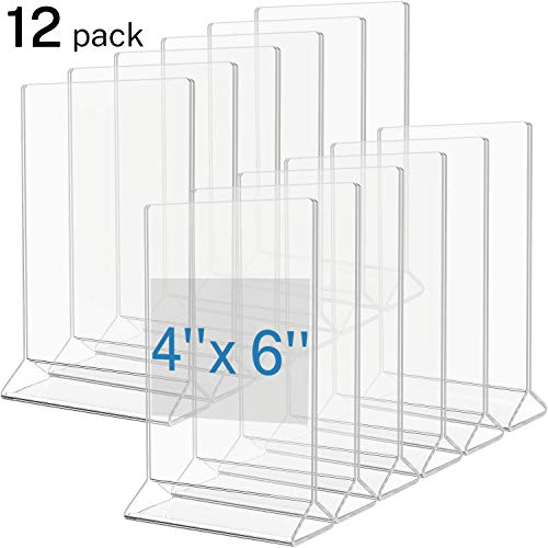 MaxGear Sign Holder Plastic Menu Holder Display Acrylic Frame 4x6 inches Clear Picture Frames Double Sided Menu Covers Photo Holders for Tables, Wedding, Marketing, Reception, Office-12 Pack