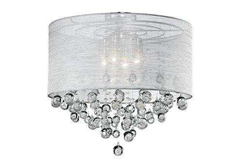 Drum Round Shade 4 Lamp Flush Mount Crystal Balls Ceiling Light Chandelier Dia 21