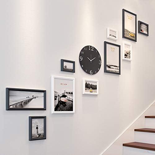 Shengdasm Madera Escalera Creativa Pared de Fotos Marco de Fotos Combinación de escaleras Reloj Marco de Fotos múltiples Decoración Corredor Minimalista Moderno Pared de Fotos (Color : B): Amazon.es: Hogar