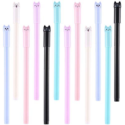 BBTO 12 Pieces Cute Cat Pen 0.38 mm Gel Pens Black Ball Point Pens for School Office Supplies