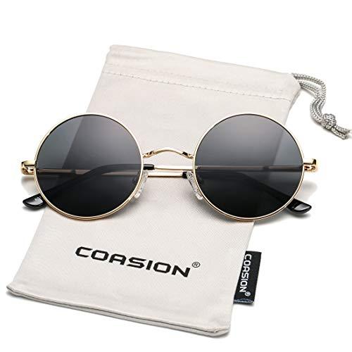 COASION Retro Small Round Polarized Sunglasses John Lennon Style Circle UV400 Sun Glasses (Gold Frame/Grey ()