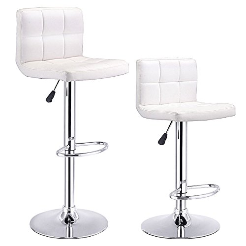 COSTWAY Set Of 2 Swivel Black Bonded Leather Barstool Adjustable Hydraulic Bar Stool (White)