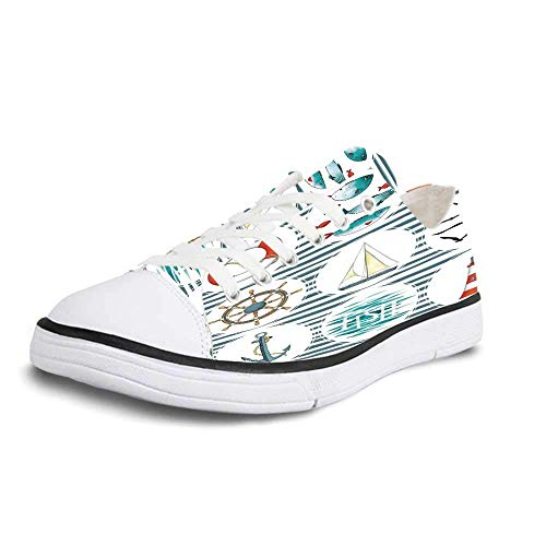 (Canvas Sneaker Low Top Shoes,Nautical Sea Set with Fishes Lifebuoy Gulls Lighthouse Marine Inspired Maritime Theme Man 11)