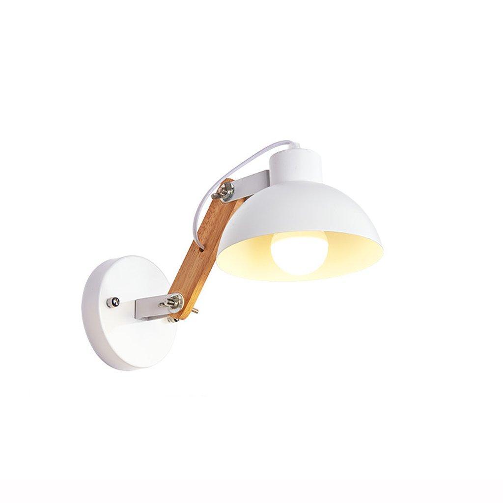 RFJJ Wandleuchte Nordic Schmiedeeisen Massivholz Wandleuchte Moderne minimalistische Kunst Nachttischlampen Innen Balkon Ganglichter