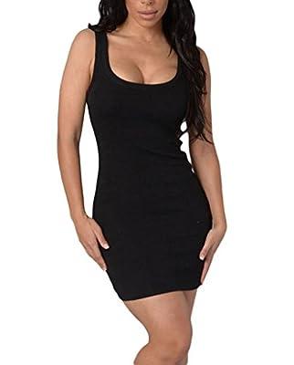 AnnFlat Women's Summer Classic Scoop Neck Sleeveless Bodycon Mini Tank Dress