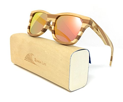 2c7d04bbbf Galleon - 2 Tone Assorted Bamboo Wood Sunnies With Polarized Revo Mirror  Lens