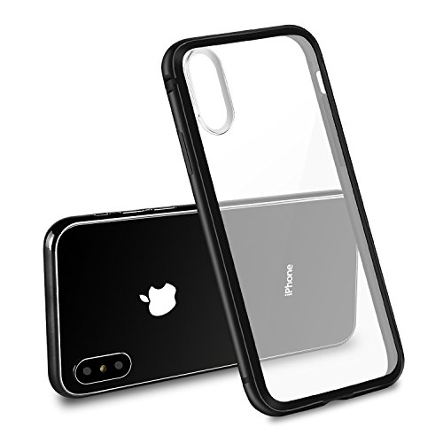 iPhone X Case Choncyn Clear Hard Back Panel Pc +Aluminum+ TPU Hybrid Shockproof Bumper Case Shock Absorbing + Scratch Resistant Frame Cover Case for iPhone X (black)