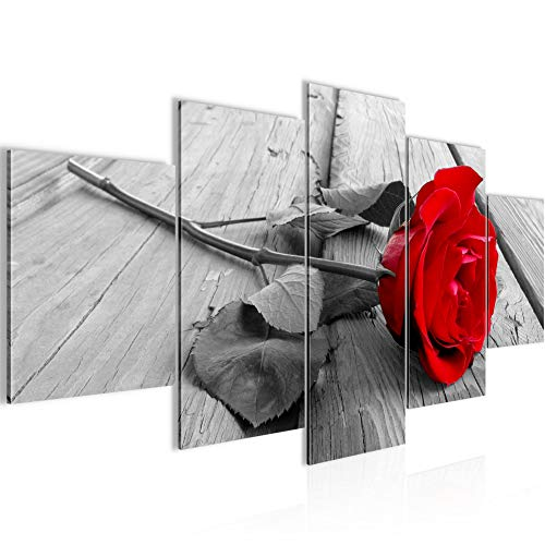 Runa Art - Cuadro Flores Rosas 200 x 100 cm 5 Piezas XXL Decoracion de Pared Diseno Rojo Gris 204451a