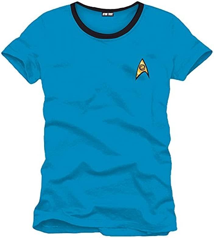 Star Trek Spock Mundos Uniforme Camiseta de la Nave Espacial de la Galaxia Baumw Ajuste cómodo Traje Azul cáscara