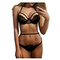 BSGSH Women's Sexy Strappy Lingerie Set Halter Lace Babydoll Bra and Panty Set