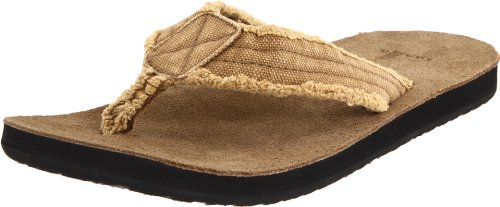Flops Mens Sanuk Flip - Sanuk Men's Fraid Not Flip Flop,Khaki,9 M US