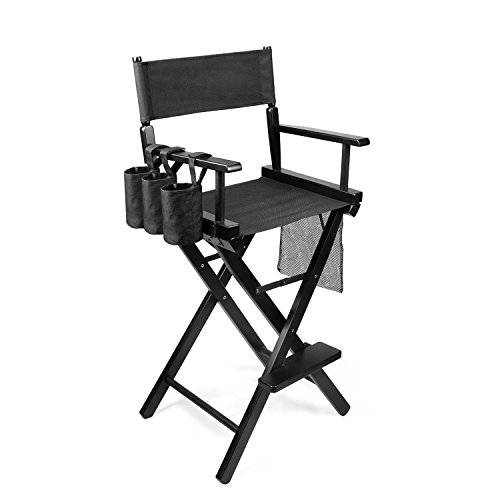 Flexzion Makeup Chair Artist Directors Actor Wood Stool Professional Light Weight Bar Height Seat Foldable with Storage Side Bags and Food Rest Home Furniture in Black by Flexzion