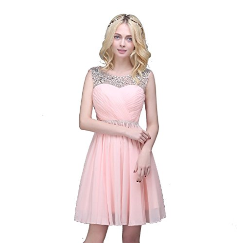 Gray Short BessWedding Beaded s Dresses Women Elegant Chiffon Evening Prom Sleeveless ftfvqwr