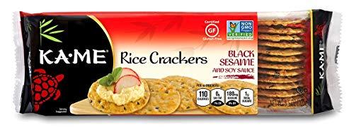 - Ka-Me Gluten Free Rice Crackers, Black Sesame & Soy, 3.5 Ounce (Pack of 12)