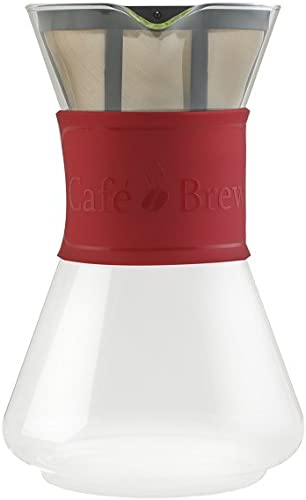 Cafe Brew PO108RED Po108 Red 8 Cup Pour Over Coffeemaker