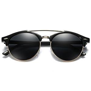 YORFORMALS Semi-Rimless Round Polarized Sunglasses Black Frame/Black Lens