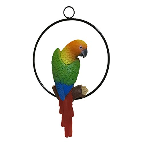 Cheap Fafajoy Patio Home & Garden Hanging Parrot Statue Sculpture On Ring Lawn Ideal Decor for Nature Lovers Tropical Bird Collectors by Gifts (Small)