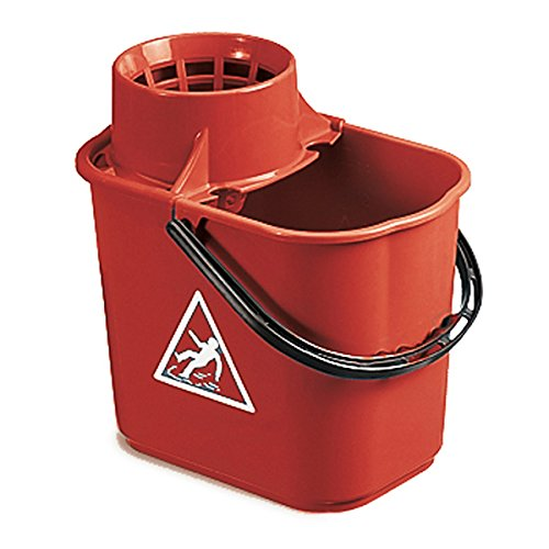 Colour Coded Red Heavy Duty Mop Bucket with Wringer for High Risk Infection Areas - Toilets Drinkstuff