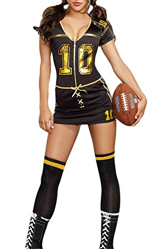 [FiveFour Women's Costume Black Player Club Football Costume] (Borderlands 2 Costumes For Sale)