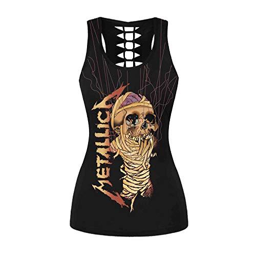 Plustrong Womens Metallica Skull Print Workout Yoga Running Tank Tops Sleeveless Casual Shirts Tops (Metallica Zombie 041, S/M)