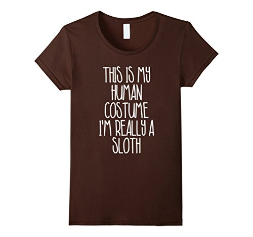 Cute Simple Last Minute Halloween Costumes (Womens Cute Simple Sloth Halloween Costume Shirt for Girls Boys Men Small Brown)