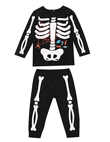 Unisex Boys Girls Kids Halloween Pajama Skeleton Costume Outfit Pants Set (5, Black) by Little Fancy