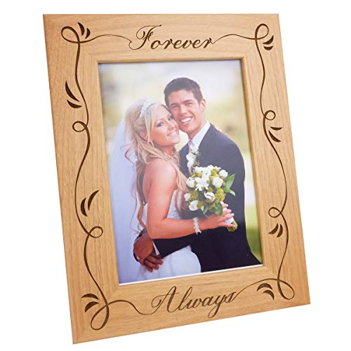 Forever Always-Natural Wood Engraved Picture Frame with Glass,Love Picture Frame,Valentine's Day Gift,Wedding Picture Frame,Wife Birthday Gift,Anniversary Picture Frame,Engagement Gift(5x7 ()