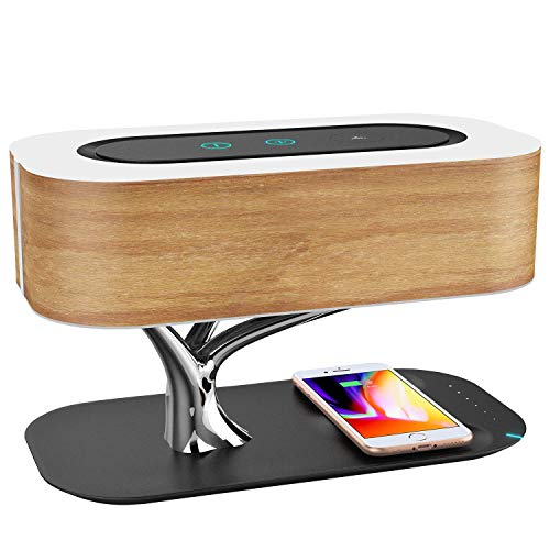 Masdio by Ampulla Bedside Lamp with Bluetooth Speaker and Wireless Charger, Sleep Mode Stepless Dimming ()
