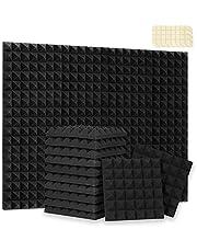 Paneles acústicos de 24 unidades de paneles de espuma acústica, espuma de sonido, paneles de sonido, espuma de ruido con cinta adhesiva de doble cara (30,5 x 30,5 x 5 cm), color negro (30,5 x 30,5 x 5,8 cm, negro
