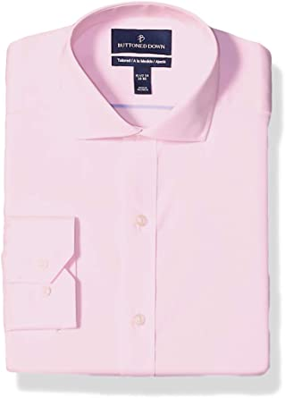 Buttoned Down Tailored Fit Cutaway Collar Solid Non-Iron Dress Shirt Camisa, Rosa (Light Pink), 17.5