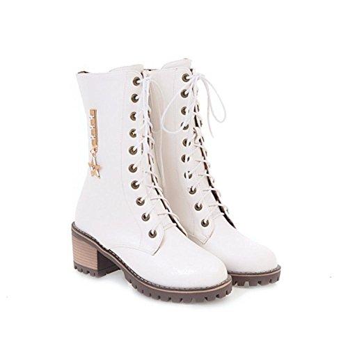 Inverno Donna Ruvido artificiale White Stivali Testa locomotiva partito rotonda Heel Lavoro PU Autunno Marrone Nero da pizzo SxqRfr0SwO