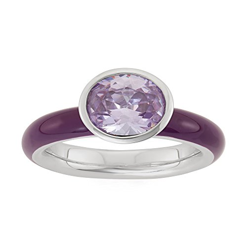 Lavender Cubic Zirconia Band - Sterling Silver Bezel Set Lavender Oval Cubic Zirconia Ring with Lacquered Band