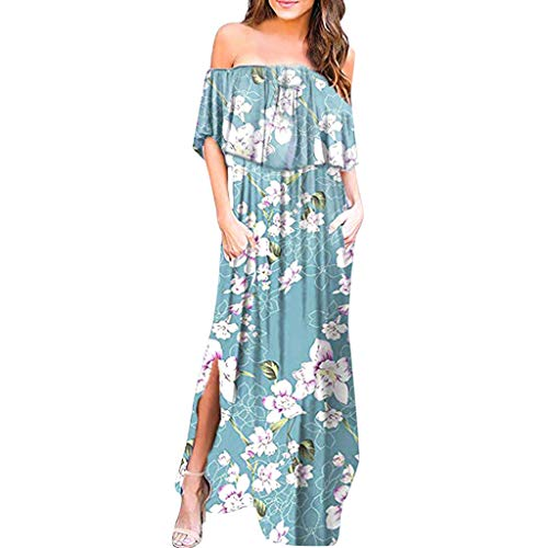 (LONGDAY Women Summer Maxi Dress Ruffles Long Dress Floral Print Bohemian Beach Swing Dress Cold Shoulder Side Split Light Blue)