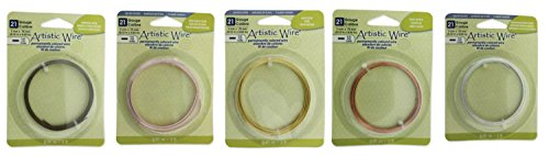 5 Colors Artistic Wire FLAT Wire, Each, 21 Gauge 3mm Wide, Silver Plate Gold, Antique Brass, Copper, Rose Gold, Anti-tarnish Silver Bundle