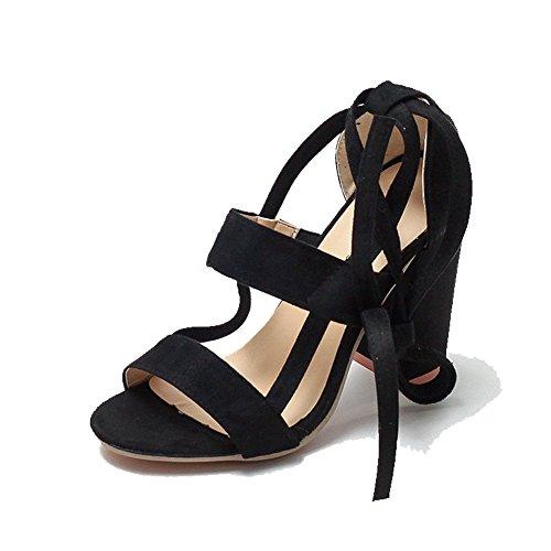 donna Black XIE da in alla con Tacco spesso Summer Straps Explosions grandi caviglia pelle Sandali alto Cross di cinturino dimensioni scamosciata RwqRSrY