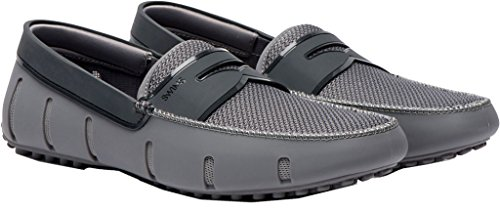 SWIMS Mens Penny Loafer Driver Gray Shine Double Thread Size 11 by SWIMS