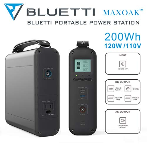 MAXOAK Generator Portable Power Station 200Wh Lithium Emergency Battery Backup Pure Sinewave 110V AC Outlet Solar Generator for Outdoor Camping Travel Fishing Hunting w AC, DC12V, QC3.0, USB-C