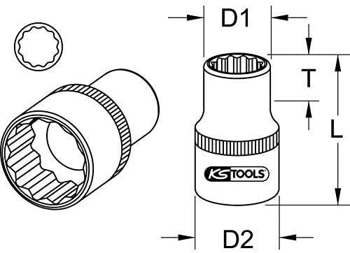 KS-Tools 917.1374 1//2 12-kant-Stecknuss,9//16