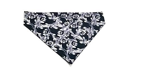 Ghost Black Halloween Print Dog Bandana Kerchief No-Tie Design by Barking Bad Bakery and Boutique