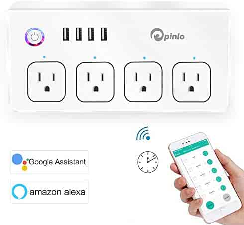 Smart Power Strip, Wifi Surge Protector, Voice Control with Alexa & Google Home, 4 AC Outlets 4 USB Port with 5-Foot Cord, App Control Appliances, Individual Control, Timing Schedule, No Hub Required