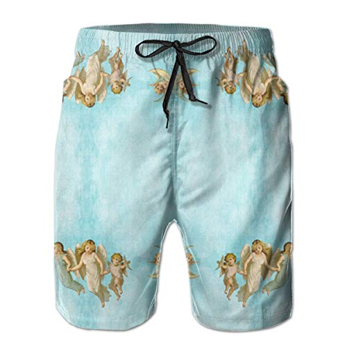 Oswz Angel Babies Expressions Men's Beach Swimming Trunks Boxer Brief Swimsuit Swim Underwear Boardshorts with Pocket