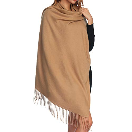 Womens Thick Soft Cashmere Wool Pashmina Shawl Wrap Scarf - Aone Warm Solid Color Stole(Camel)