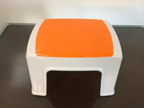 Durable Plastic Light Weight Kids Stacking Chairs Stool Step (Orange)