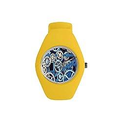 Clock Decor Practical Watch,A Set of Clock Gears Steel Cogwheels Pattern Mechanical Theme Design for Daily,Diameter(Watch face): 1.26''R